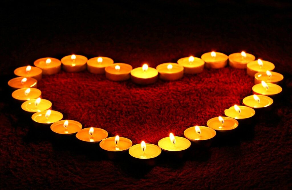 candles, heart, flame